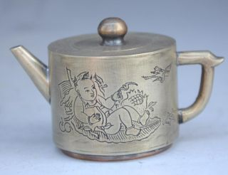 Old China Folk Art Hand Engraving Silver Child Red - Crowned Crane Pattern Teapot photo