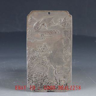 Chinese Tibet Silver Hand Carved Deer & Crane & Flower Predant Yp29 photo