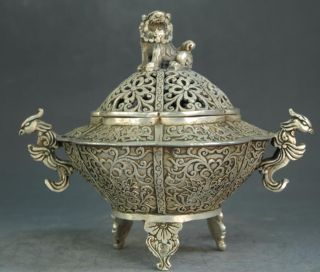 Collect Chinese Old Hand Engraving Silver Dragon Pi Xiu Incense Burner photo