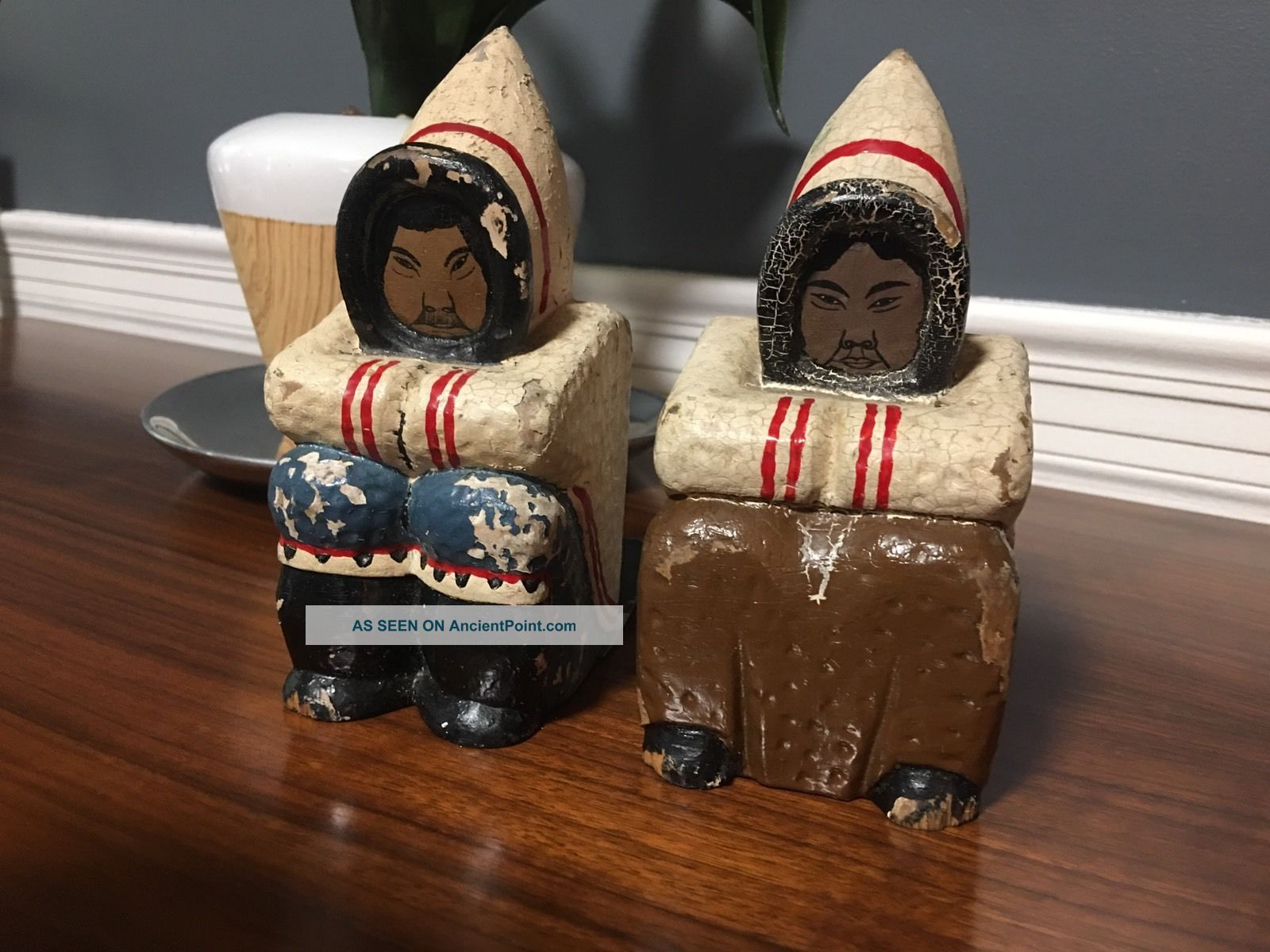 Grenfell Industries Newfoundland Inuit Eskimo Bookends Carved Wood Handpainted Primitives photo