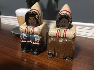 Grenfell Industries Newfoundland Inuit Eskimo Bookends Carved Wood Handpainted photo