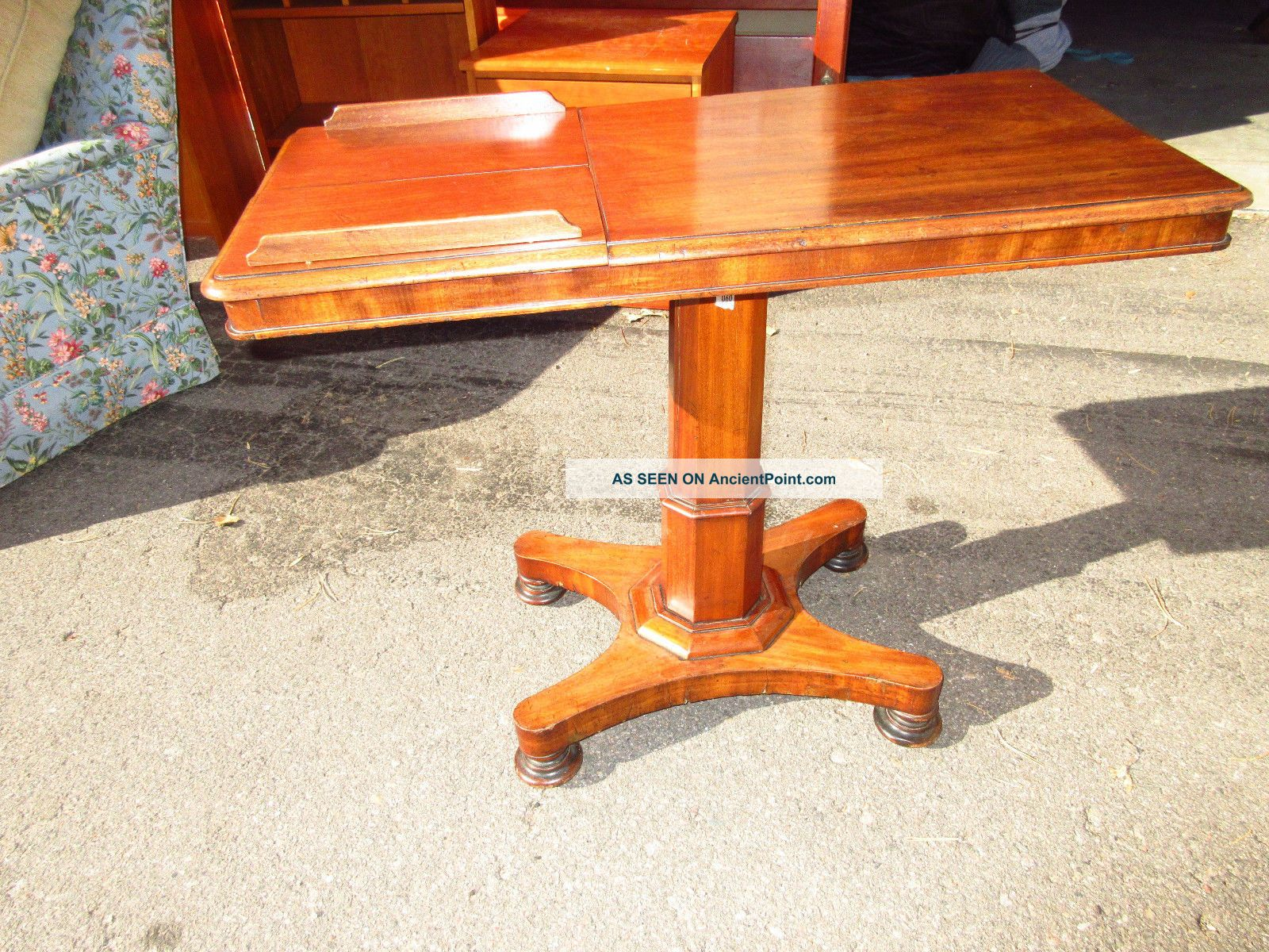 Antique Mahogany Two Sided Bed Side Adjustable Reading Table Bc Unknown photo