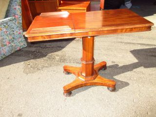 Antique Mahogany Two Sided Bed Side Adjustable Reading Table Bc photo