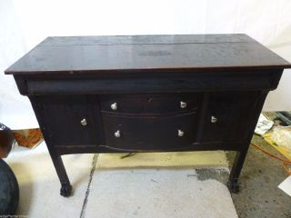 Rare 19th Century Claw Feet Antique Buffet Server Sideboard Cabinet photo
