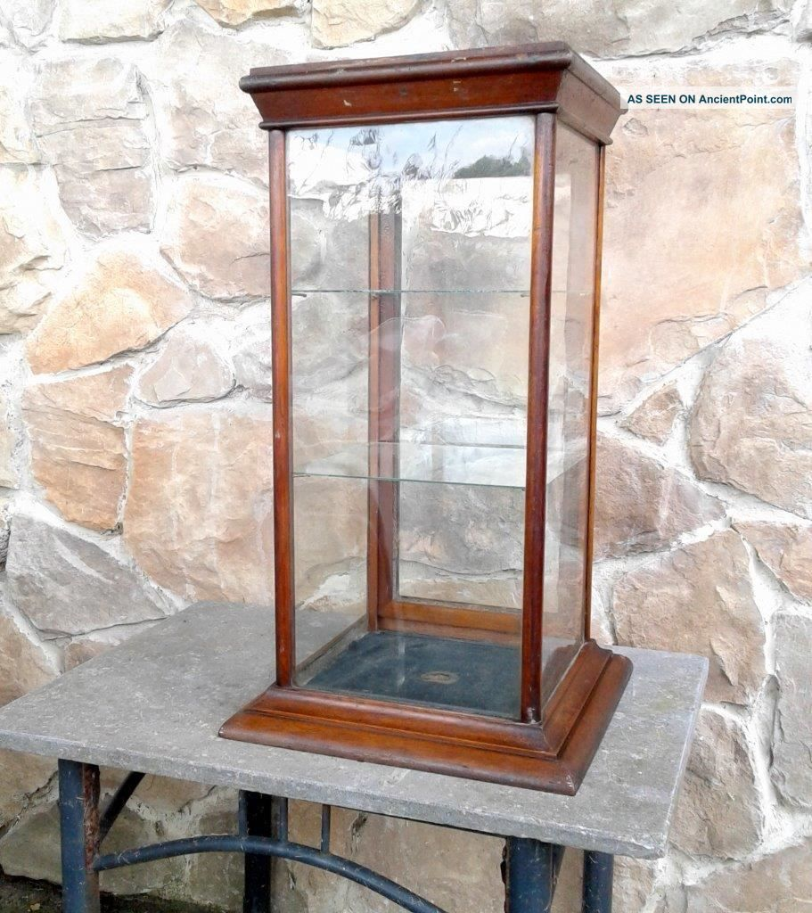 Table Top Walnut Display Case With Glass Shelves And Key 1880 Era Antique Display Cases photo