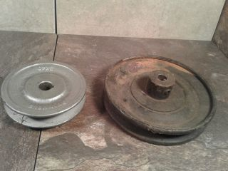 Old Antique Industrial Decor Steel And Iron V - Belt Pulleys - Steampunk Art photo