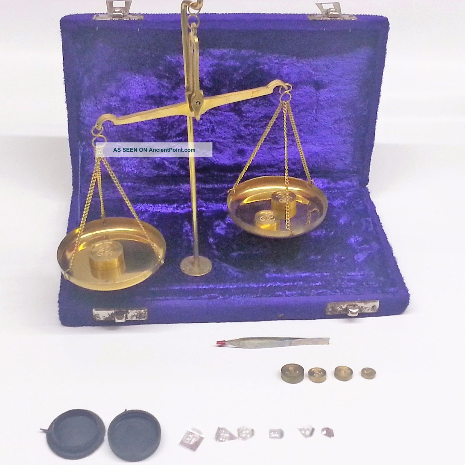 Antique Style 50 Gram Brass Balance Scale In Velvet Box Scales photo