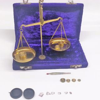 Antique Style 50 Gram Brass Balance Scale In Velvet Box photo