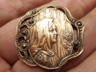 Art Nouveau Mucha Woman W/ Cut Steels In Pierced Brass Antique Button 1 - 1/4