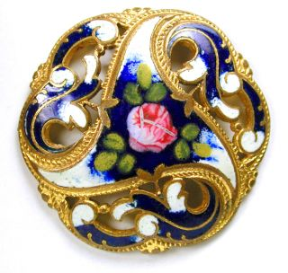 Antique French Enamel Button Pierced Cobalt W/ Hand Painted Rose - 1 & 3/16
