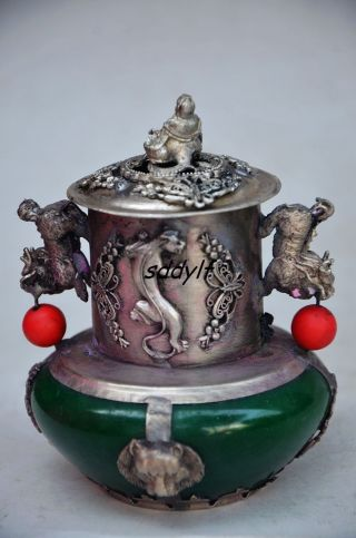 Collectible Chinese Old Jade Inlaid Tibetan Silver&buddha Lid Incense Burner photo