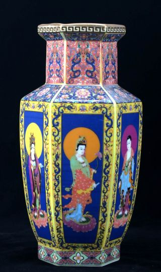 Chinese Cloisonne Porcelain Hand - Painted Kwan - Yin Vase W Yongzheng Mark Cqfl08 photo