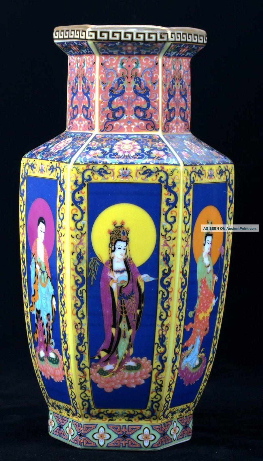 Chinese Cloisonne Porcelain Hand - Painted Kwan - Yin Vase W