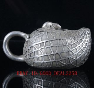 Old Silver Copper Hand Carved Peanut Pattern Teapot Bt013 photo