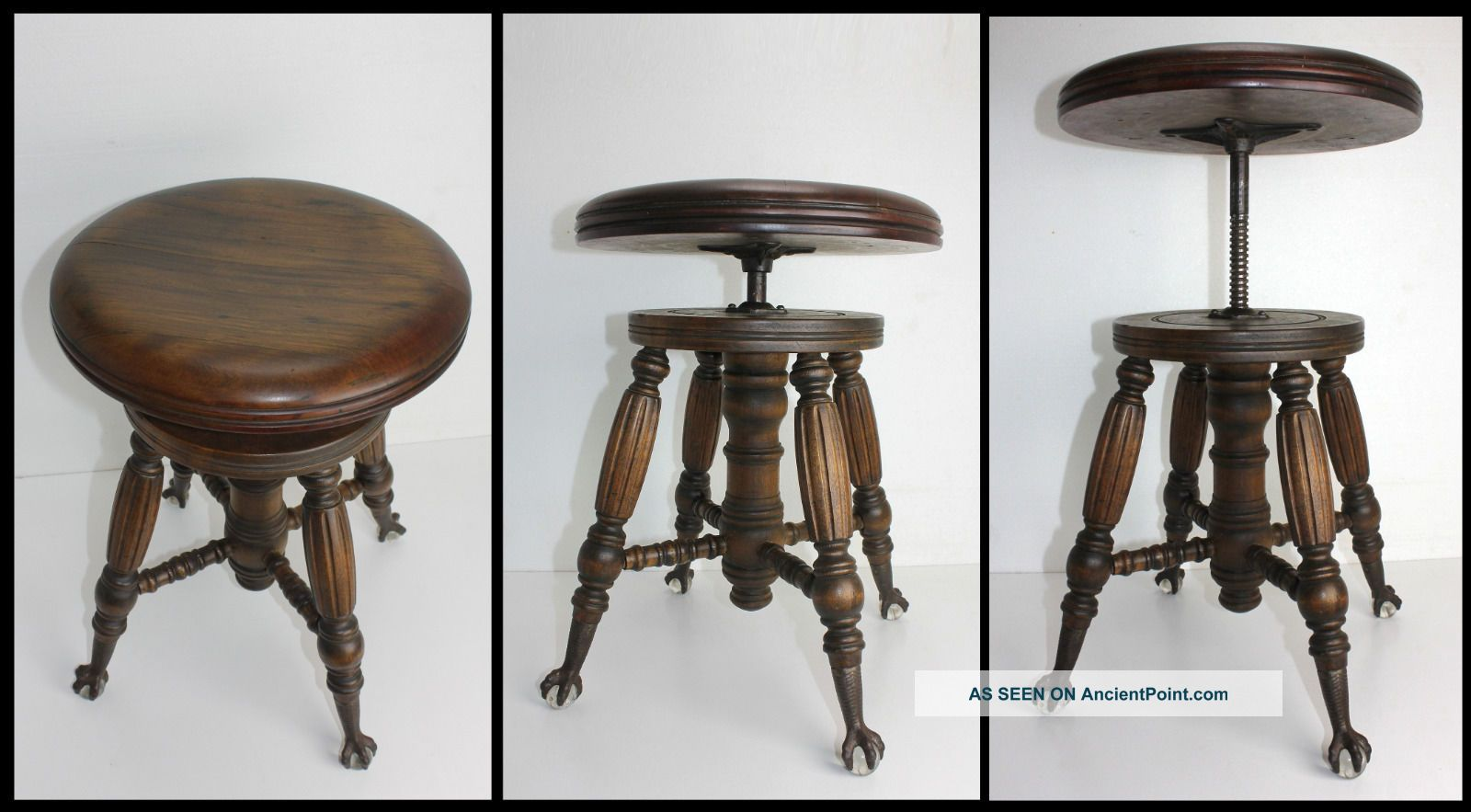 Antique Wood Charles Parker Co Adjustable Organ Piano Stool Glass Ball Claw Feet 1800-1899 photo