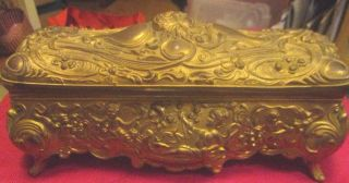 Antique Art Nouveau Ornate Gilt Jewelry Casket Brainard Wilson Co Circa 1905 photo