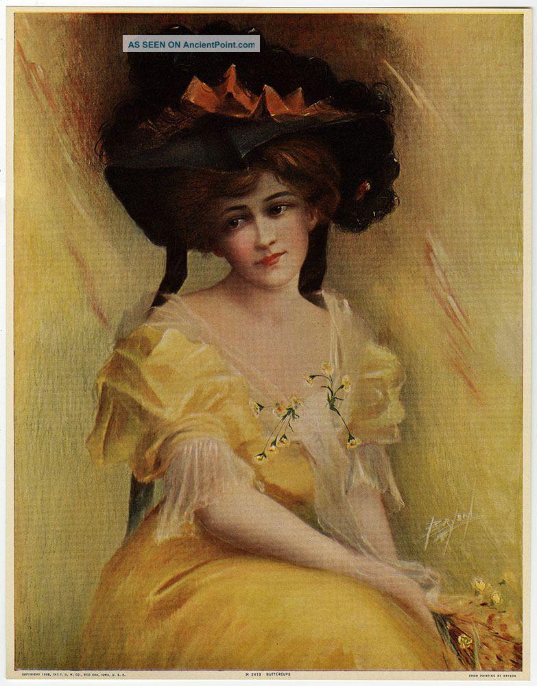 Vintage 1909 J Ross Bryson Art Nouveau Pin - Up Print Hatted Maiden Buttercups Nr Art Nouveau photo