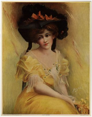 Vintage 1909 J Ross Bryson Art Nouveau Pin - Up Print Hatted Maiden Buttercups Nr photo
