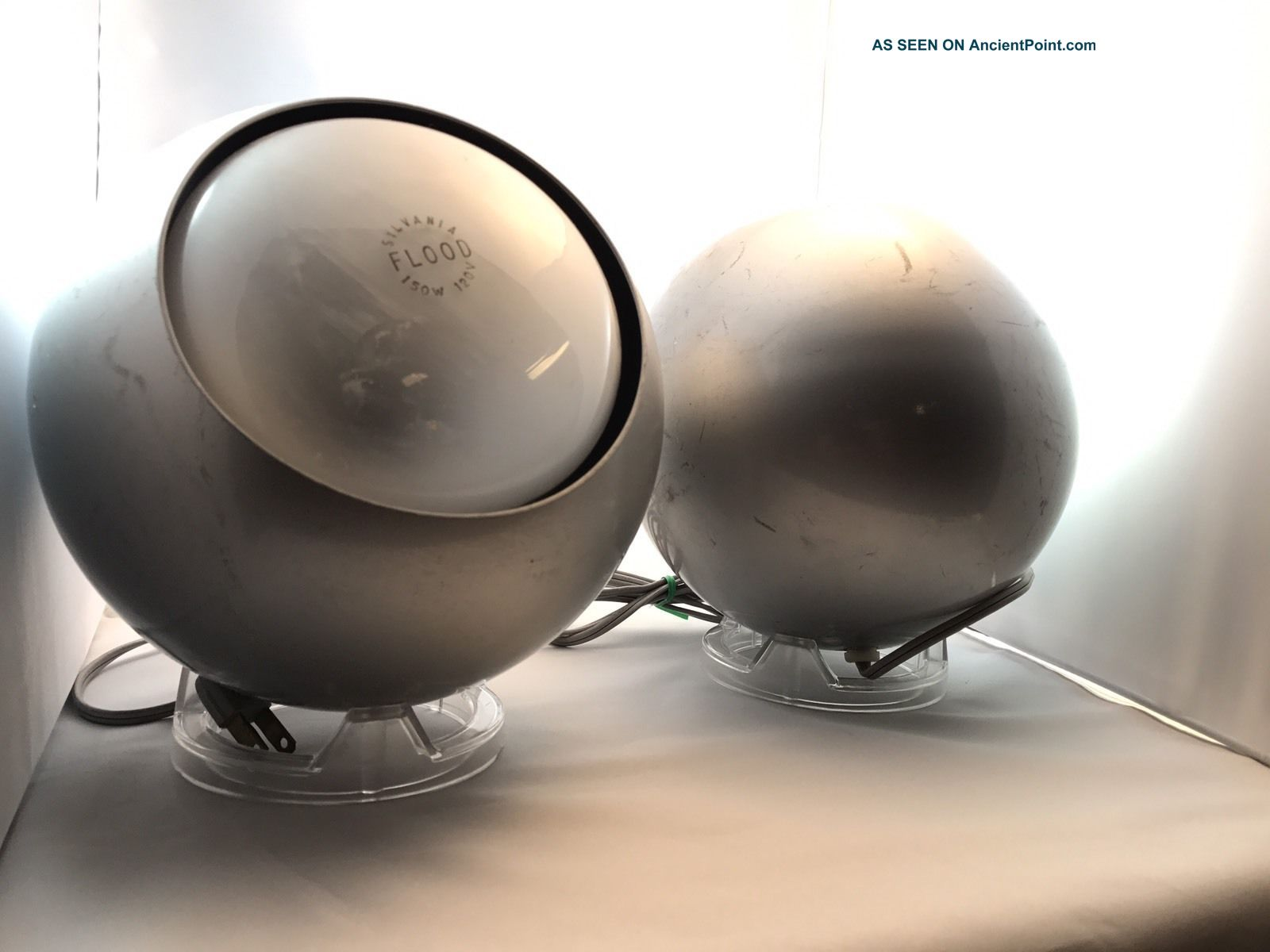 Vintage Pair Mcm 1960s Space Age Atomic Eyeball Table Lamps Eames Era Mid-Century Modernism photo