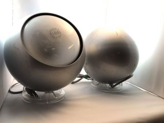 Vintage Pair Mcm 1960s Space Age Atomic Eyeball Table Lamps Eames Era photo