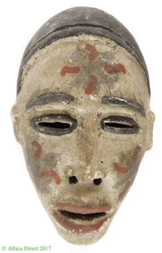 Bakongo Mask Passport Painted White Congo African Art photo