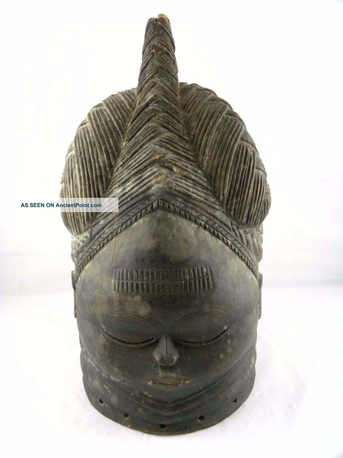 Vintage African Mende Woman ' S Wooden Helmet Mask Sowei Sande Society Liberia Masks photo