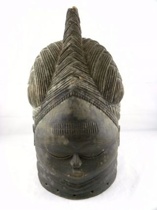 Vintage African Mende Woman ' S Wooden Helmet Mask Sowei Sande Society Liberia photo