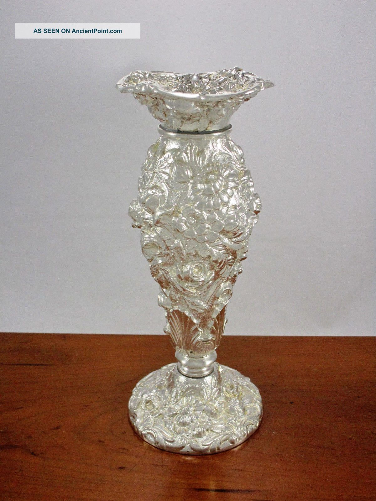 Antique Vintage Weidlich Bros Silver Plate Heavy Ornate Repousse Floral Vase Other Antique Silverplate photo