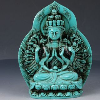 100 Natural Turquoise Hand Carved Thousand - Hand Kwan - Yin Statues Dy221 photo