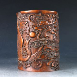 Chinese Bamboo Pole Hand Carved Dragon & Phoenix Brush Pot Dy0496 photo