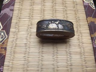 Japan: Antique Fuchi For The Japanese Sword / Cherry Blossom & Lotus photo