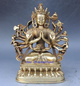 Fine Brass Sculpture China Carved Copper Thousand - Hand Kwan - Yin Buddha Statue photo