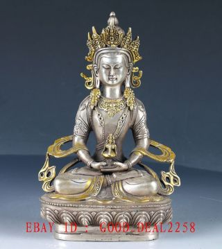 Old Tibetan Silver Handcarfted Gold - Plated Buddhist Statue Of Buddha Fx21 photo