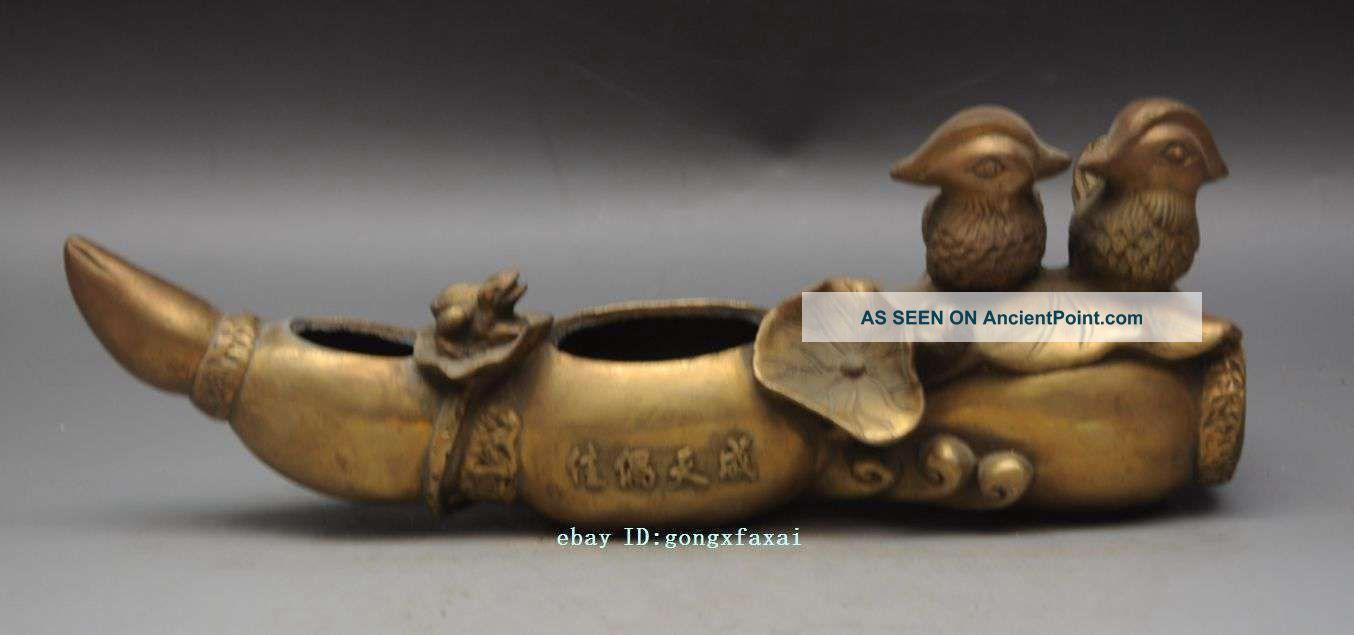 Mark Chinese Brass Auspicious Bird Mandarin Duck Frog Lotus Root Statue Pen Wash Figurines & Statues photo