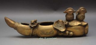 Mark Chinese Brass Auspicious Bird Mandarin Duck Frog Lotus Root Statue Pen Wash photo