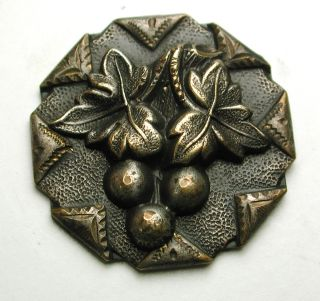 Antique Brass Button Grapes & Leaves W/ Handkerchief Border - 7/8