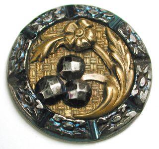 Antique Stamped Steel Button Detailed Brass Flower W/ Cut Steel Accents 1 & 1/8