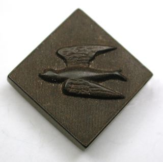 Antique Hard Rubber Button Square W/ Bird In Flight - 3/4