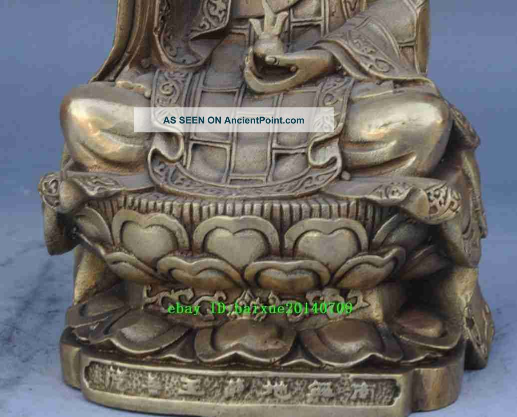 Chinese Collectible Antique Copper Plate Cast Buddha Ksiti Garbha Statue Figurines & Statues photo