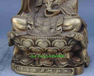Chinese Collectible Antique Copper Plate Cast Buddha Ksiti Garbha Statue photo