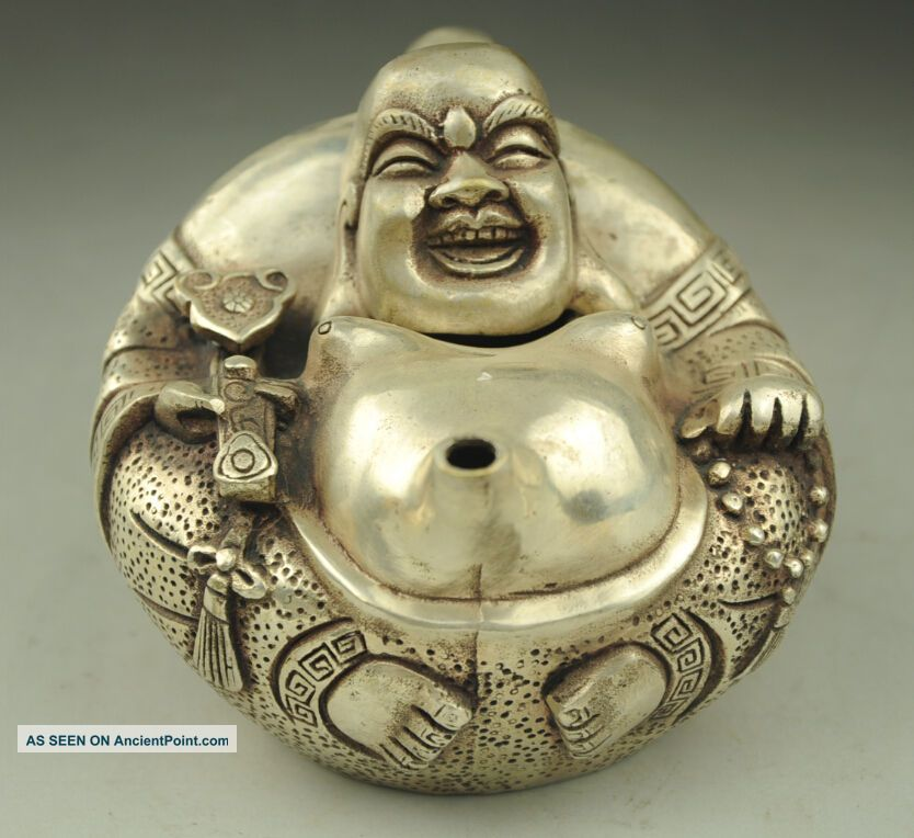 Old China Silver Wealth Ruyi Happy Laugh Maitreya Buddha Wine Teapot Flagon Teapots photo