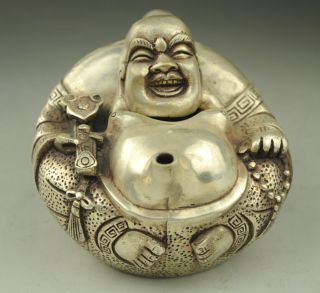 Old China Silver Wealth Ruyi Happy Laugh Maitreya Buddha Wine Teapot Flagon photo