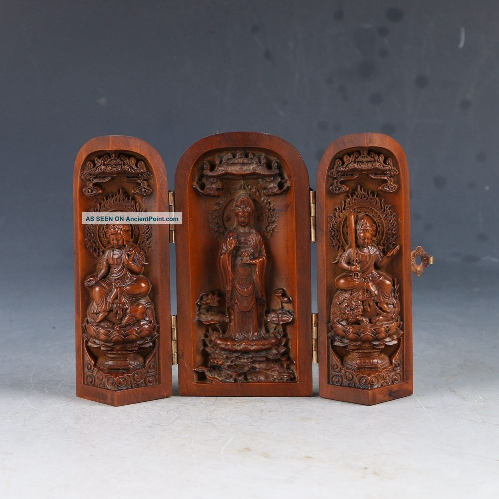 Chinese Boxwood Highly Difficuty Carved Kwan Yin Floding Box Ep0184 Other Chinese Antiques photo