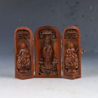 Chinese Boxwood Highly Difficuty Carved Kwan Yin Floding Box Ep0184 photo
