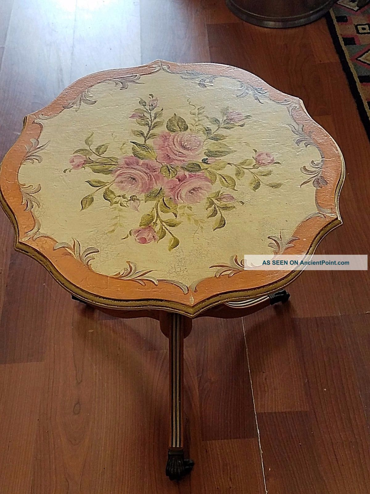 Antique Painted Accent Side Table With Roses Pretty Piece 1900-1950 photo