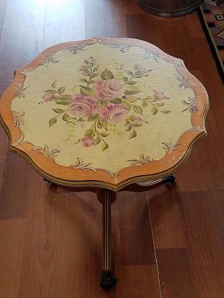Antique Painted Accent Side Table With Roses Pretty Piece photo