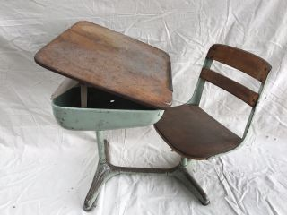 Vintage 1930 School Desk And Swivel Seat,  Wood And Metal. photo