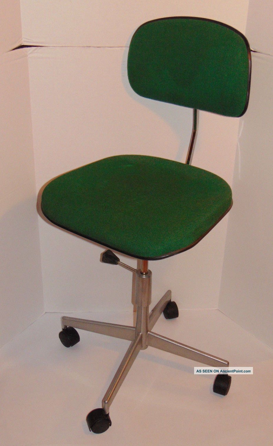 Vintage Labofa Desk/task Danish Chair Green Fabric 4 Casters Made In Denmark Post-1950 photo