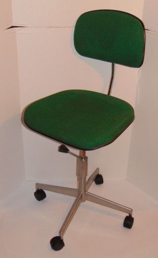 Vintage Labofa Desk/task Danish Chair Green Fabric 4 Casters Made In Denmark photo
