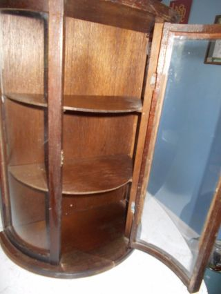 Antique Curved Glass Curio Wall Cabinet Or On Table photo